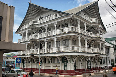 Wooden House In Colonial Style In Downtown Suriname Poster