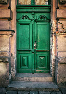 Wooden Ornamented Gate In Green Color Poster
