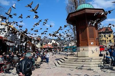 Wooden Ottoman Sebilj Water Fountain In Sarajevo Bascarsija Bosnia Poster