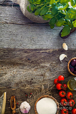 Wooden Planks With Food Poster