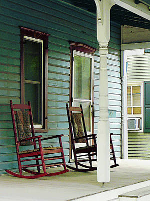 Wooden Rocking Chairs On Porch Poster by Susan Savad