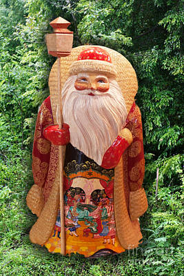 Wooden St. Nicholas Poster by Linda Phelps