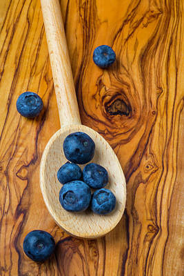 Wooden Spoon And Blueberries Poster by Garry Gay
