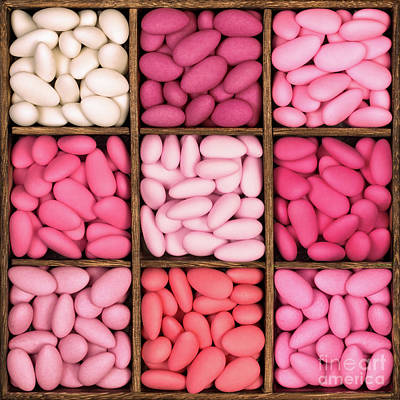 Wooden Storage Box Filled With Pink Sugared Almonds. Poster