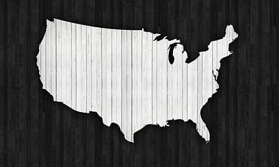 Wooden Usa  Map Poster by Art Spectrum
