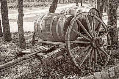 Wooden Wine Barrels On Cart Poster