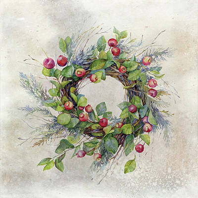Poster featuring the digital art Woodland Berry Wreath by Colleen Taylor