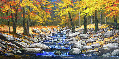 Woodland Brook In Autumn Poster