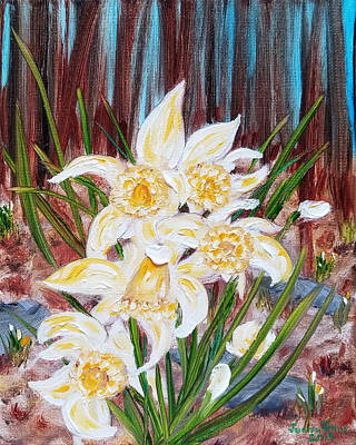 Poster featuring the painting Woodland Daffodils by Judith Rhue