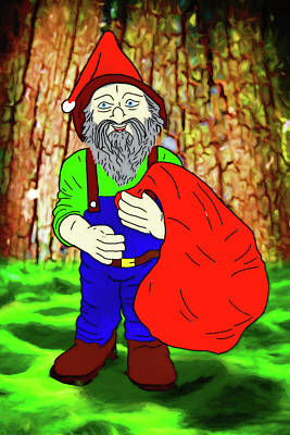 Poster featuring the digital art Woodland Elf With Sack by John Haldane