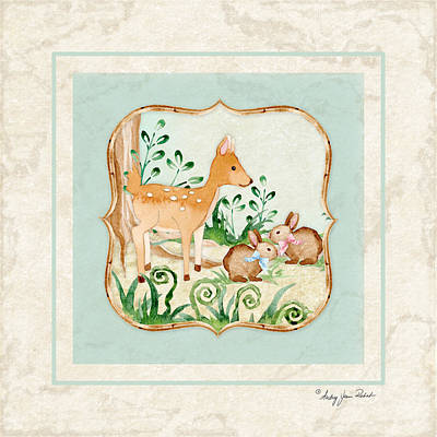 Woodland Fairy Tale - Deer Fawn Baby Bunny Rabbits In Forest Poster by Audrey Jeanne Roberts