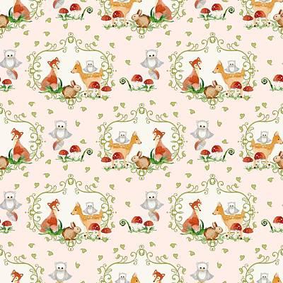 Woodland Fairy Tale - Pink Sweet Animals Fox Deer Rabbit Owl - Half Drop Repeat Poster by Audrey Jeanne Roberts