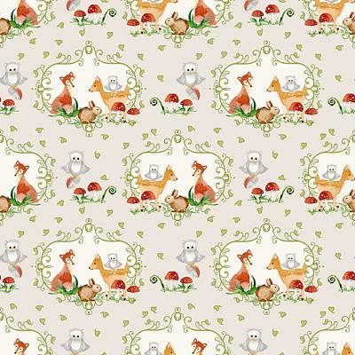 Woodland Fairy Tale -  Warm Grey Sweet Animals Fox Deer Rabbit Owl - Half Drop Repeat Poster by Audrey Jeanne Roberts