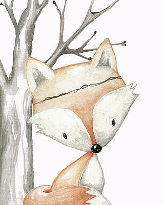 Woodland Fox Boho Baby Nursery Decor Poster