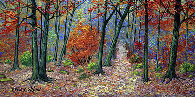 Woodland Path In Autumn Poster