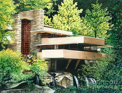 Poster featuring the painting Fallingwater-a Woodland Retreat By Frank Lloyd Wright by Barbara Jewell