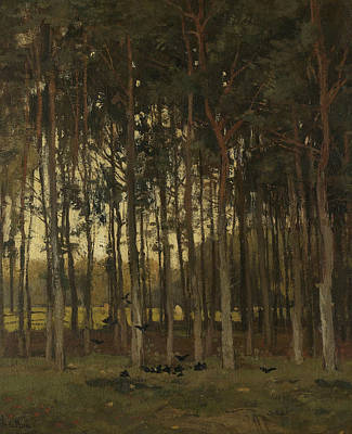 Woodland Scene Poster by Theophile de Bock