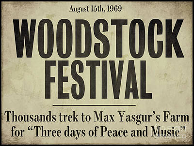 Woodstock Festival Newspaper Poster by Mindy Sommers
