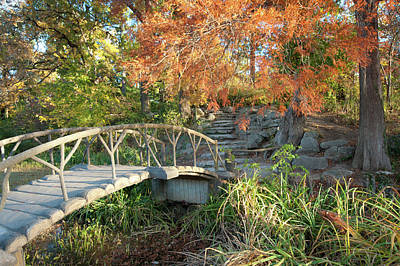 Poster featuring the photograph Woodward Park Bridge In Autumn - Tulsa Oklahoma by Gregory Ballos