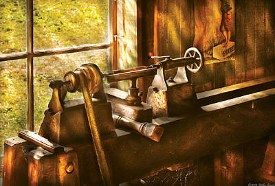 Woodworker - An Old Lathe  Poster by Mike Savad