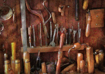 Woodworker - Old Tools Poster by Mike Savad