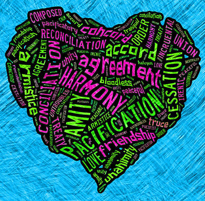 Words Of Peace Heart Poster by David G Paul