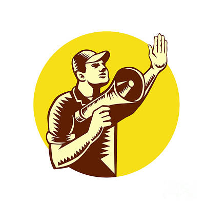 Worker Holding Megaphone Circle Woodcut Poster