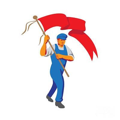 Worker Marching Flag Bearer Wpa Poster
