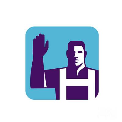 Worker Right Arm Raise To Vote Square Retro Poster