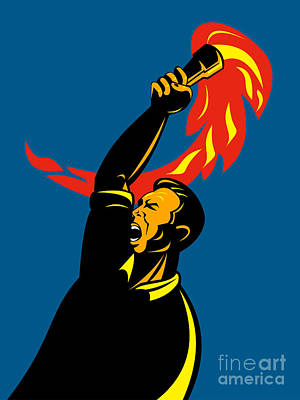 Worker With Torch Poster