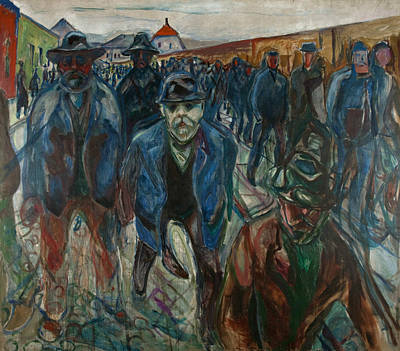 Workers On Their Way Home Poster by Edvard Munch