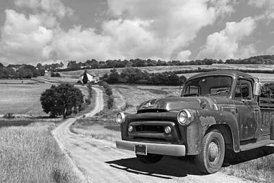 Down On The Farm- International Harvester In Black And White Poster by Gill Billington