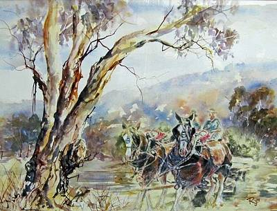 Working Clydesdale Pair, Australian Landscape. Poster