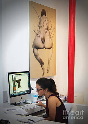 Working In The Art Gallery Poster by Dieter Lesche
