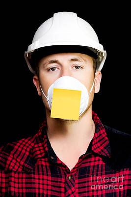 Workman With A Sticky Note Reminder Poster by Jorgo Photography - Wall Art Gallery