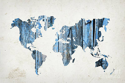 World Map Blue Planks Poster