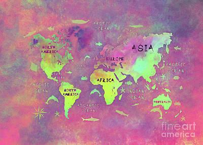 World Map 52 Purple Poster