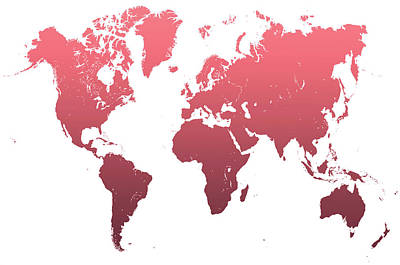 World Map Abstract. Pink Poster by Jenny Rainbow
