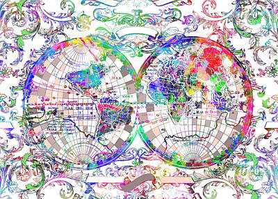 World Map Antique 10 Poster by Bekim Art