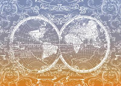 World Map Antique 11 Poster by Bekim Art