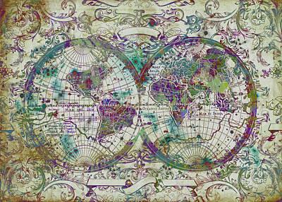 World Map Antique 13 Poster by Bekim Art