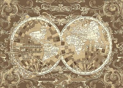 World Map Antique 3 Poster by Bekim Art