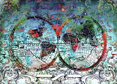 World Map Antique 4 Poster by Bekim Art