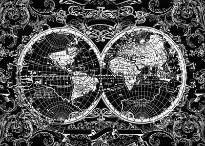 World Map Antique 8 Poster by Bekim Art