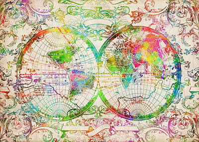 World Map Antique 9 Poster by Bekim Art