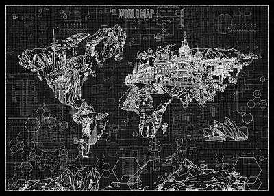 World Map Blueprint 2 Poster