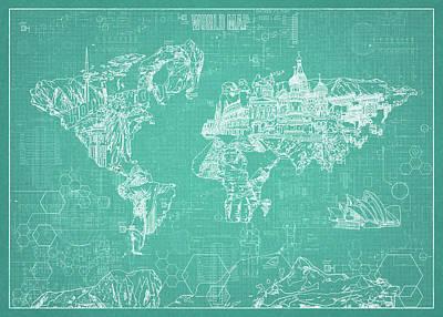 World Map Blueprint 7 Poster by Bekim Art