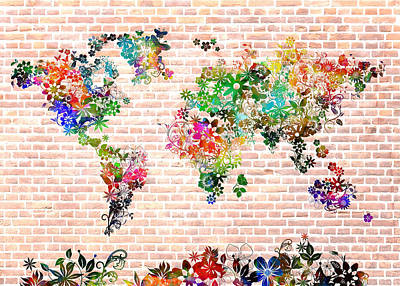 World Map Floral 6 Poster