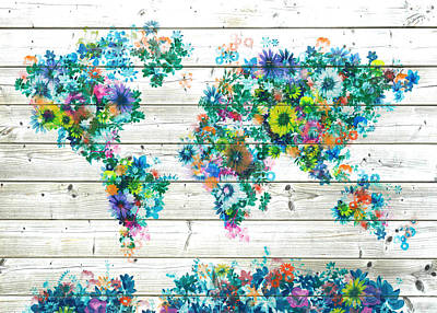 World Map Floral 9 Poster
