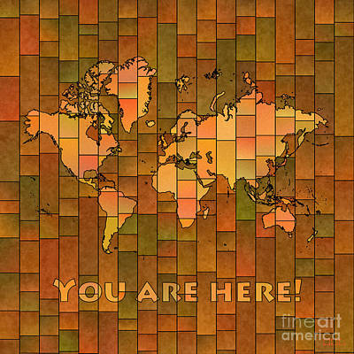 World Map Glasa You Are Here Brown Orange Green Poster